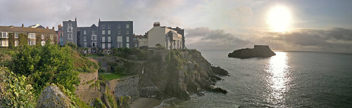 uk sea panorama wales sunrise island shoreline pembrokeshire tenby stcatherines nokian8 akwsn