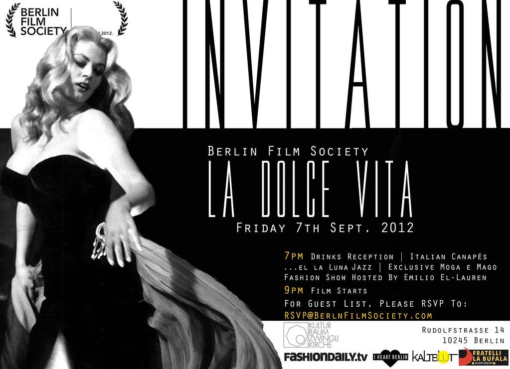 Invitation: Berlin Film Society present La Dolce Vita