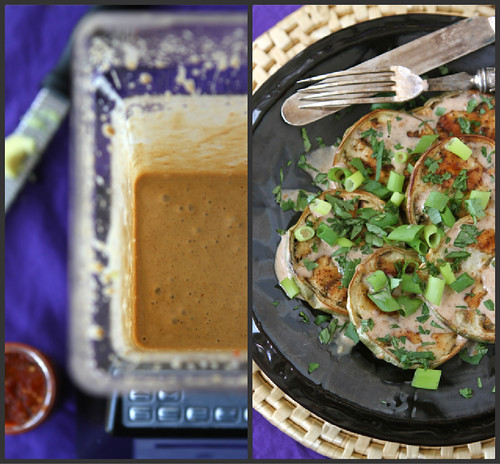 Roasted Eggplant Recipe with Almond Butter Coconut Sauce