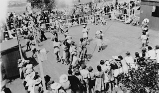 Dancing on an outdoor dance floor at Shorncliffe, Boxing Day, 1939