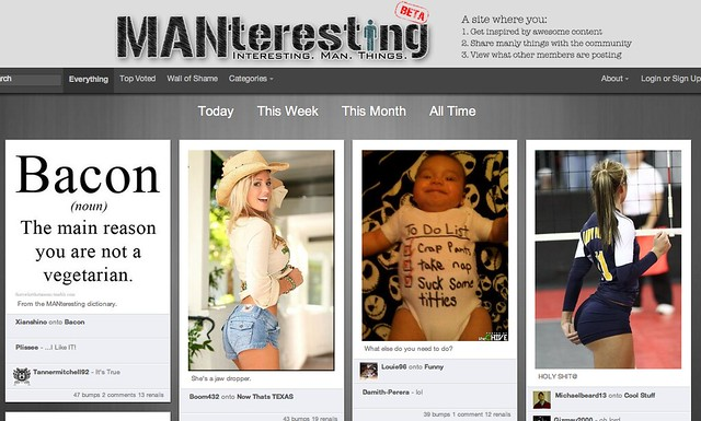 screen shot from the manteresting home page
