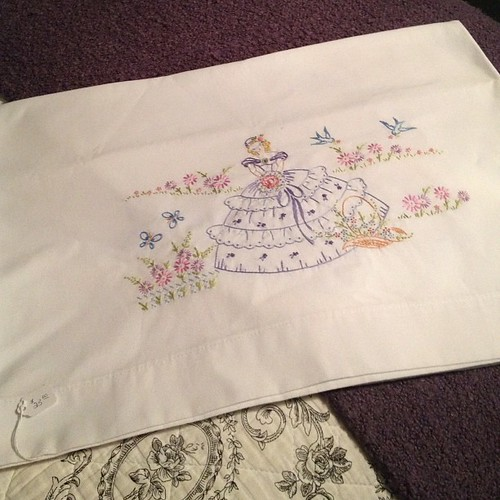 Hand embroidered pillow cases