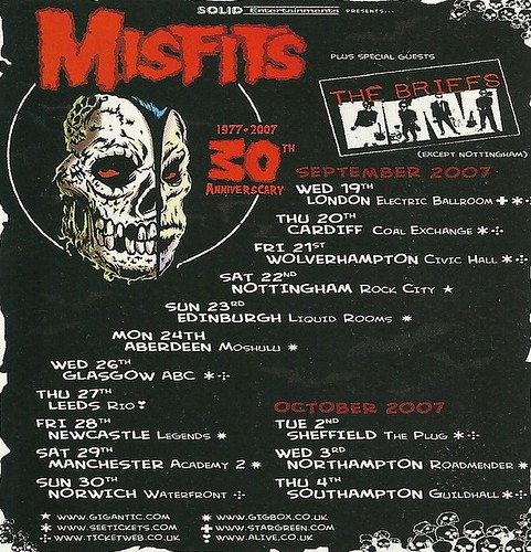 September/October 2007 The Misfits/ The Briefs U.K. Tour Ad