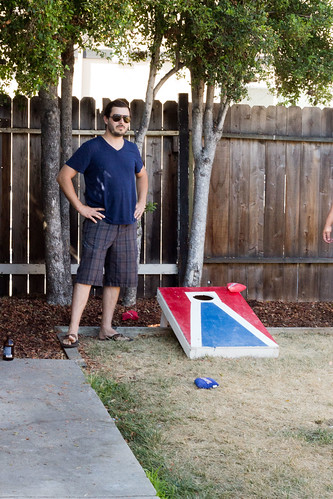 Andy playing bean bag toss
