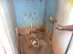 A typical public toilet in northern Uganda that is inaccessible for people with disabilities