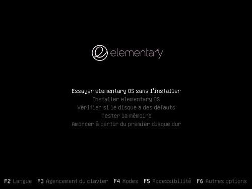 Ecran de démarrage d'elementaryOS