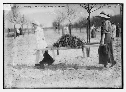 German women doing men's work in orchard  (LOC)