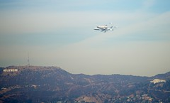 Shuttle Endeavor Flyover Griffith Observatory and Hollywood Sign View Outside My Window