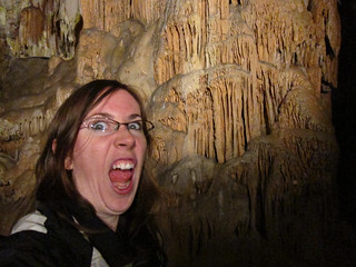 kathleen in a cave making a bad face