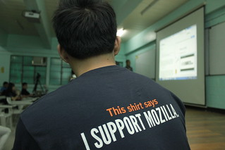 This shirt says that I support Mozilla.