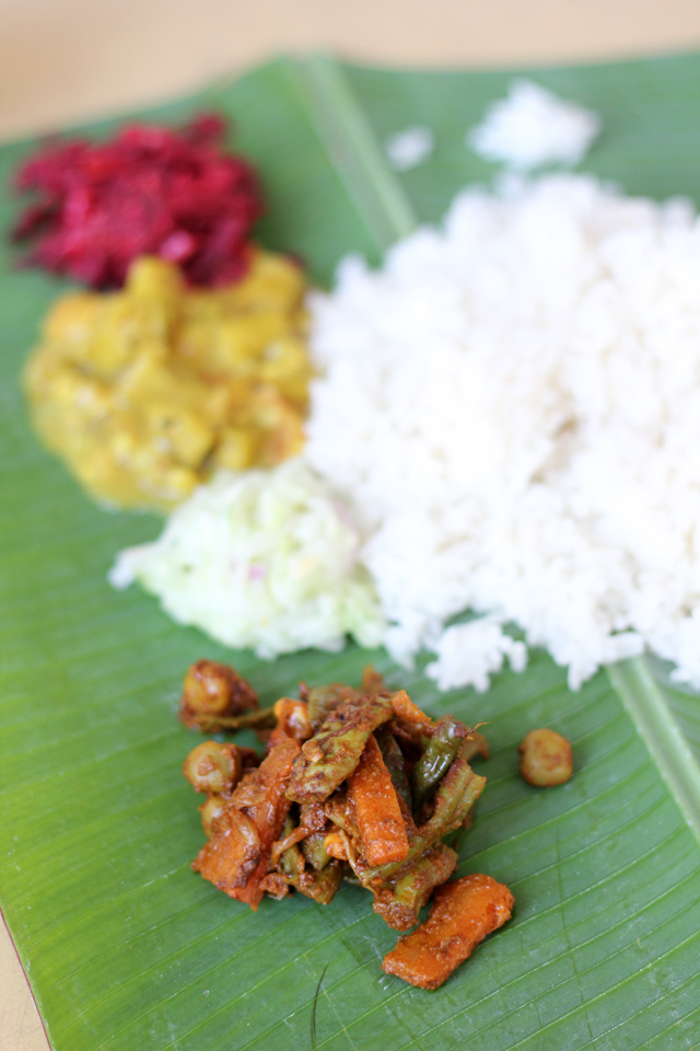 Colorful display of South Indian Curries