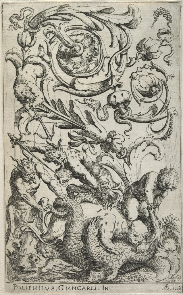 etching of grotesques - panther biting a dragon, armed satyrs, putti and abstracted foliage