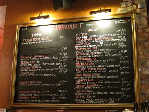 draught menu @ Oluthuone Kaisla