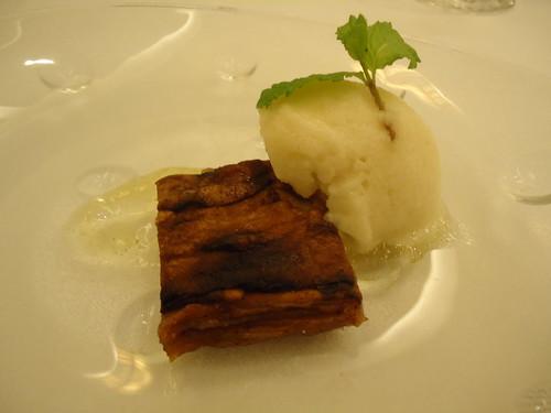 Zaragoza | El Chalet | Lasaña de manzana caramelizada y sorbete de sidra