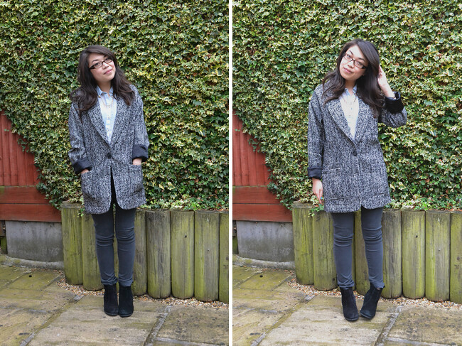 daisybutter - UK Style and Fashion Blog: what i wore, ootd, AW12, boyfriend blazer, ag adriano goldschmied, asos
