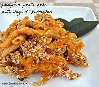 pumpkin pasta bake with sage & parmesan