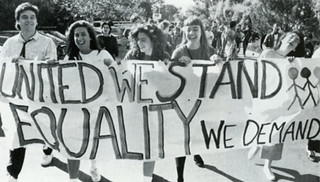 Students join in a November 1988 march around the five colleges in support of diversity.