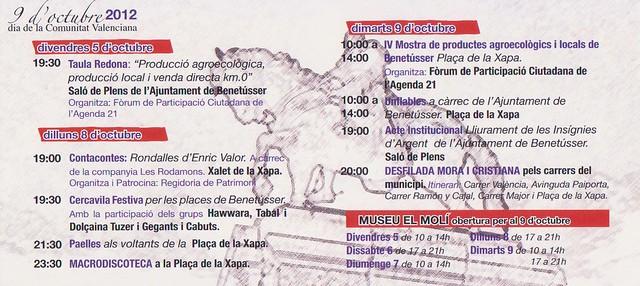 Programa 9 octubre Benetússer