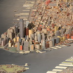 Queens Museum of Art | The Panorama of the City of New York | lower Manhattan, including the twin towers of the World Trade Center, part of the Brooklyn Bridge & Brooklyn, and Governors Island