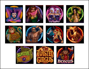 free The Twisted Circus slot game symbols