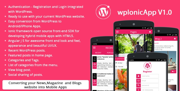 Ionic WordPress RESTAPI (wpIonicApp V1.0) – News / Magazine / Blogs