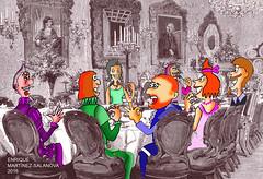 Quijote y Sancho en banquete