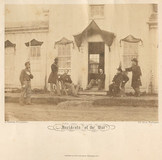 [Arlington, Va. Capt. Nevins and officers in front of headquarters, Fort Whipple; mourning crepe drawn over doors and windows]