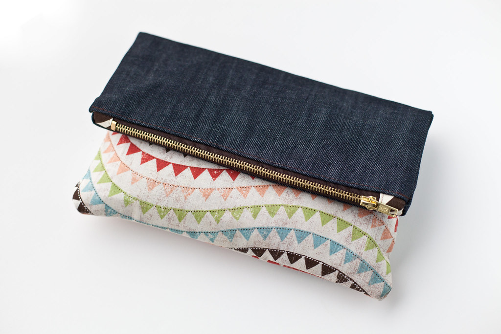 denim foldover clutch