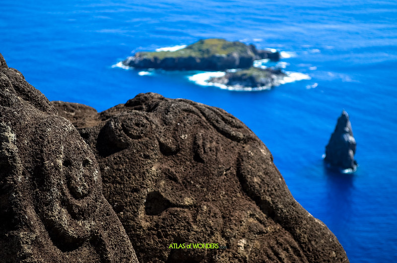 Easter Island rock carvings ans islet