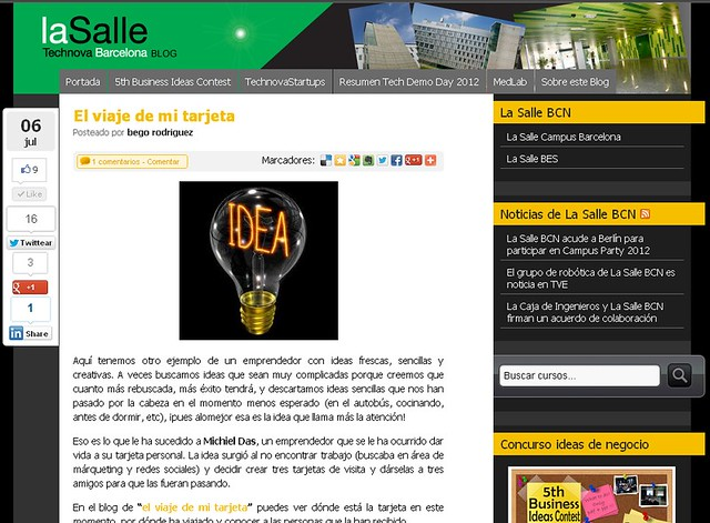 Artículo en el blog de Technova - La Salle (06.07.2012) - castellano