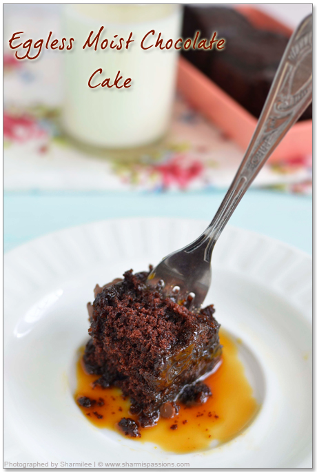 Super Moist Chocolate Cake(With no eggs & butter)