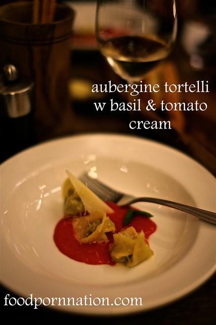 aubergine tortelli