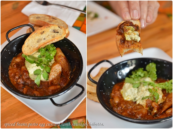 Spiced Beans, Pesto Egg Custard, Lamb Sausage & Ciabatta
