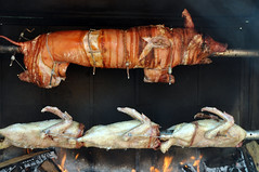 roasting, suckling pig, barbecue, lechon, meat, pig roast, food, dish, cuisine, barbecue grill,