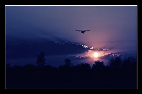 sunset sky silhouette clouds airplane flying airport twilight nikon dusk michigan aviation annarbor dramatic landing champ onone aeronca generalaviation d3000 7ac annarborairport aperture3 perfectphotosuite