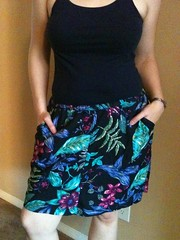 Blue Floral Shorts-to-Skirt Refashion - After