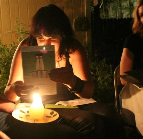 reading my birthday cards by candlelight
