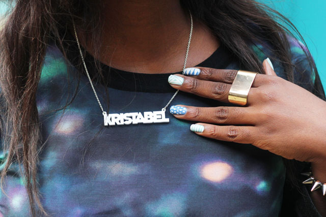 Tatty Devine name necklace Cos cosmic top