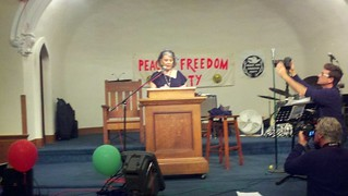Roseann Barr speaking at Ocean Park Church, Venice | 22 September 2012