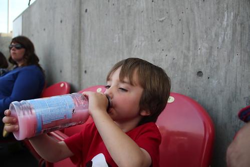 Olsen drinking his Sobe