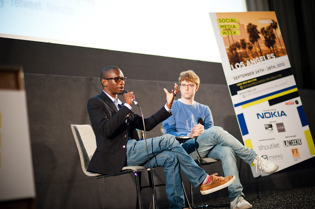Troy Carter of Atom Factory and D.A. Wallach of Spotify at Social Media Week Los Angeles