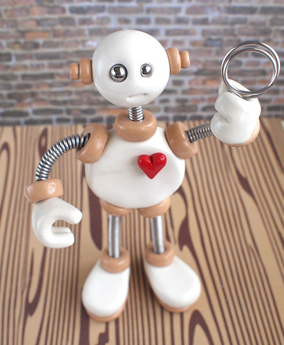 White Wilbo - Robot Wire Photo Holder by HerArtSheLoves