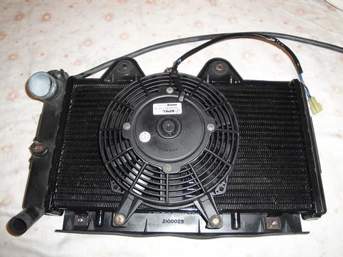 Radiator reassembled, showing plastic bodied fan