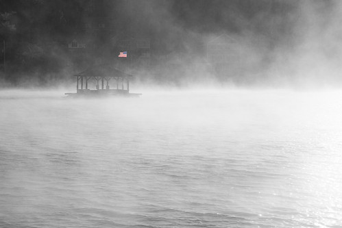 lake water fog sunrise freedom flag newhampshire bandstand alton usflag robertallanclifford cliffordphotographynhcom