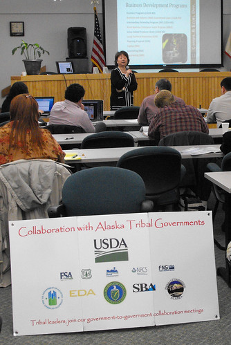U.S. Small Business Administration District Director, Karen Forsland leads a session on Business Development in Juneau.