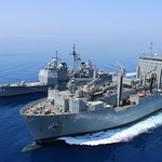 USS Hue City conducts replenishment at sea.