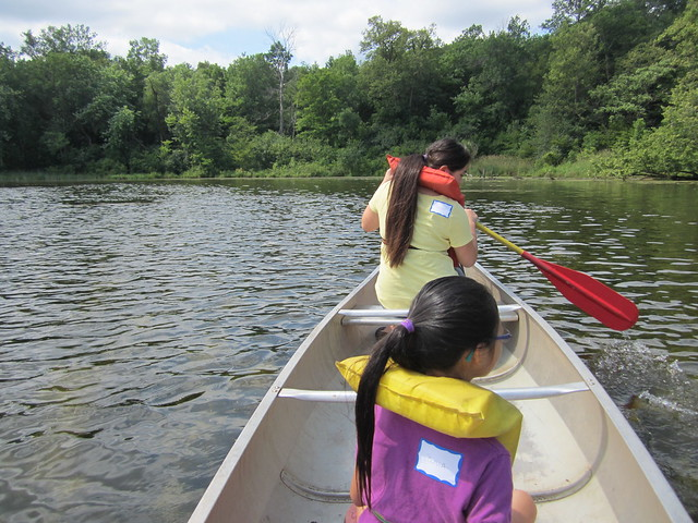 Sophia and Olivia in the Canoe