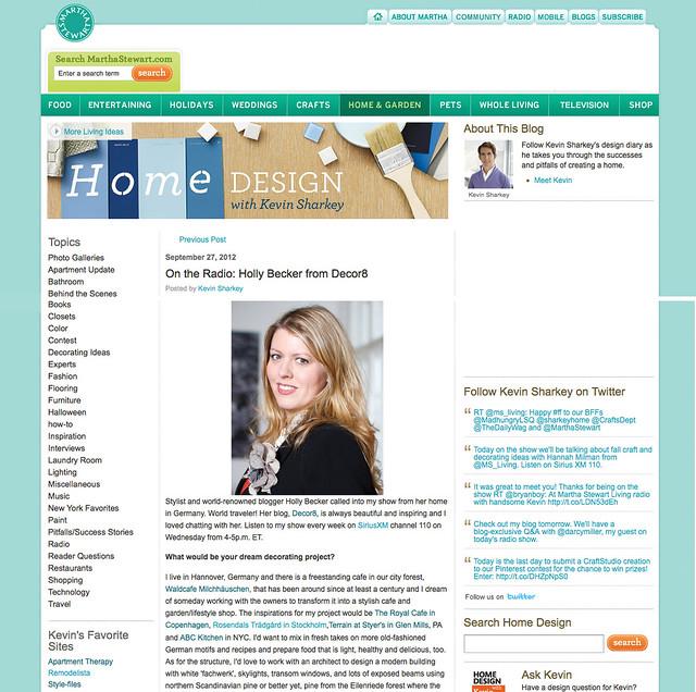 Read & Listen: Martha Stewart Radio + me!