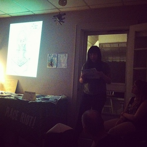 Anna Vo reading at the potluck in Athens, OH