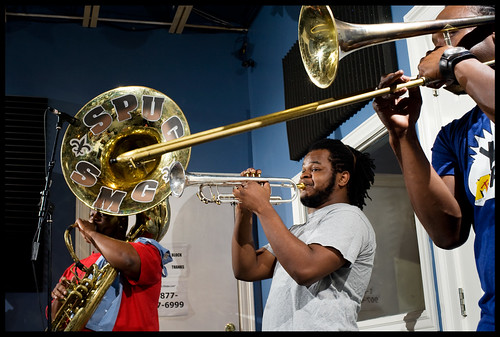 Stooges Brass Band members- Clifton Smith, Christopher Cotton, and Walter Whoadie Ramsey. rhrphoto.com